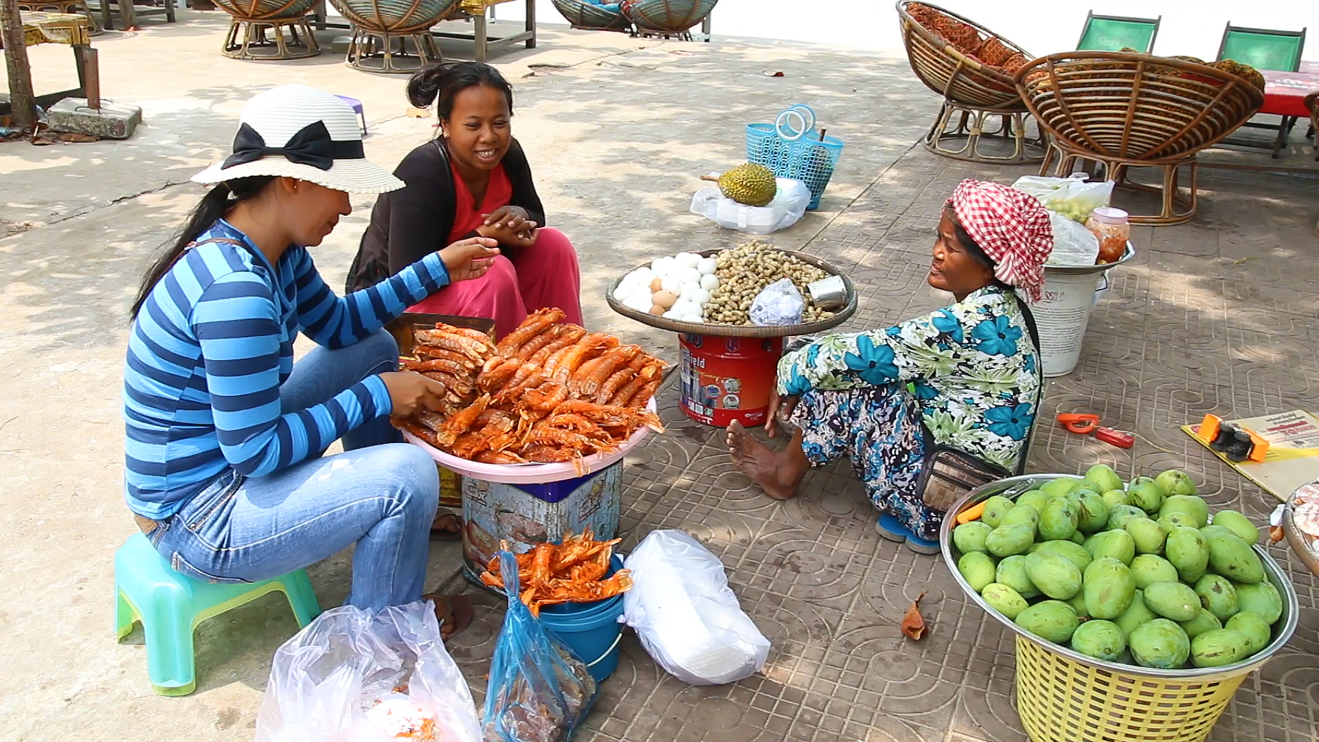cambodge, sihanoukville, cambodgienne, crevettes, plage