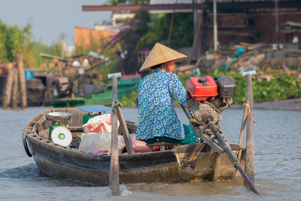can tho, vietnam, vietnamienne, chapeau, marché flottant, floating market