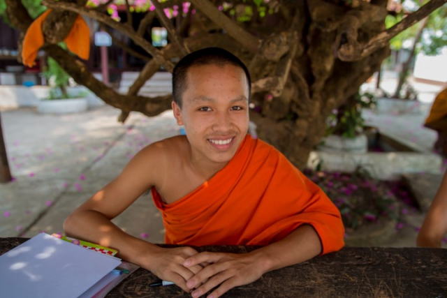 laos, luang prabang, moine, études, temple