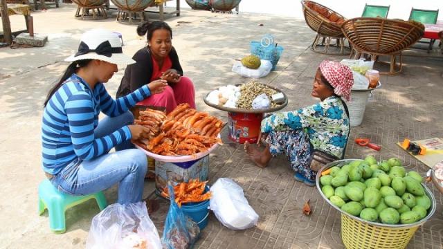 cambodge, sihanoukville, cambodgienne, crevettes, plage