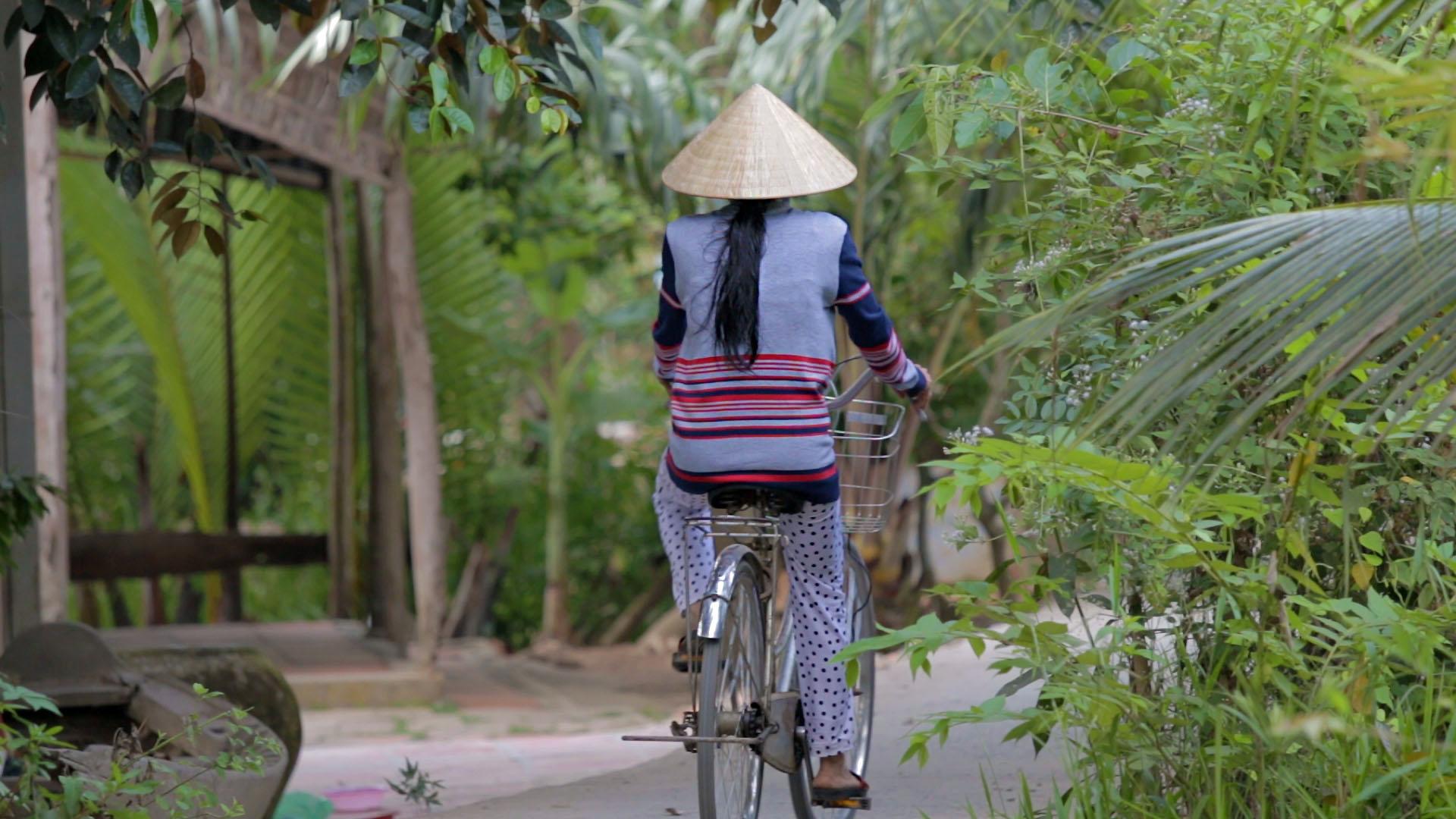 Can Tho, delta du mékong, vietnam, chapeau vietnamien, vélo