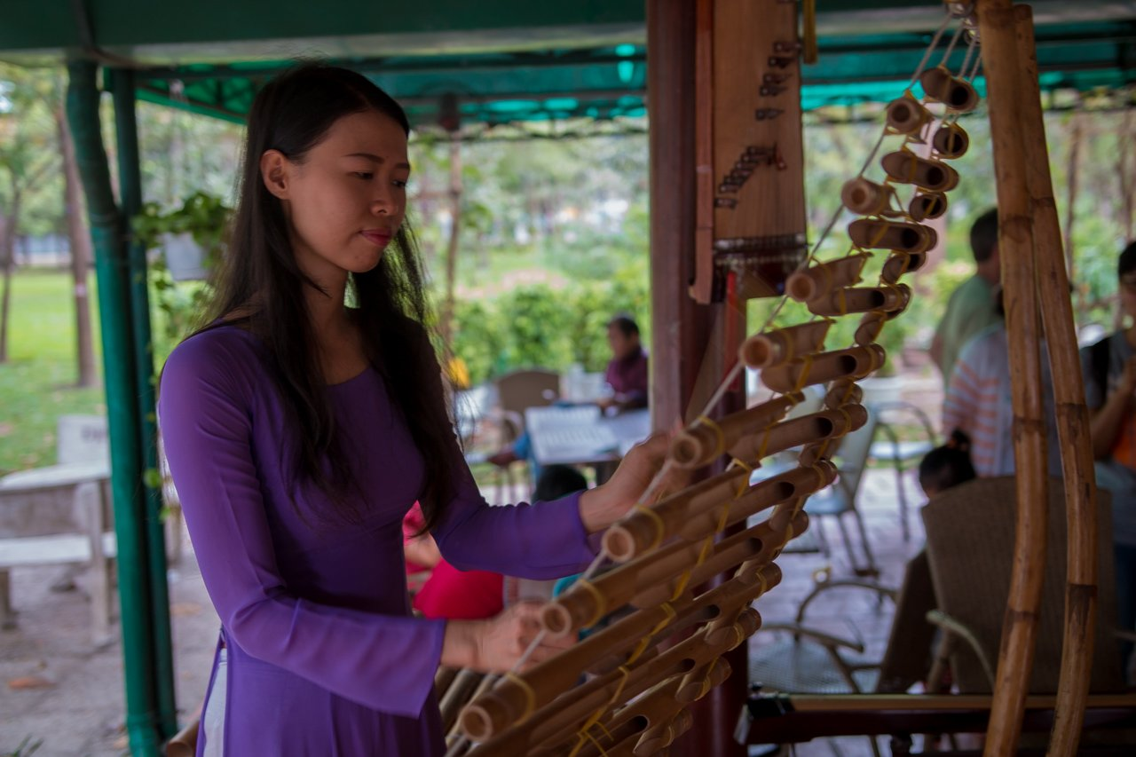 vietnamienne Hô Chi Minh, vietnam, t'rung, instrument en bambou
