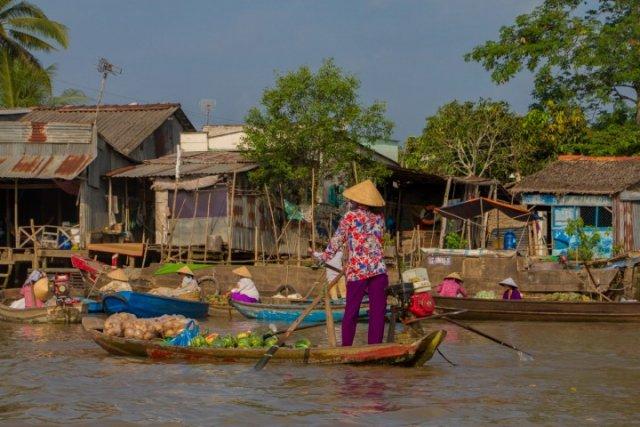 vietnam, chapeau, marché flottant, vietnamienne