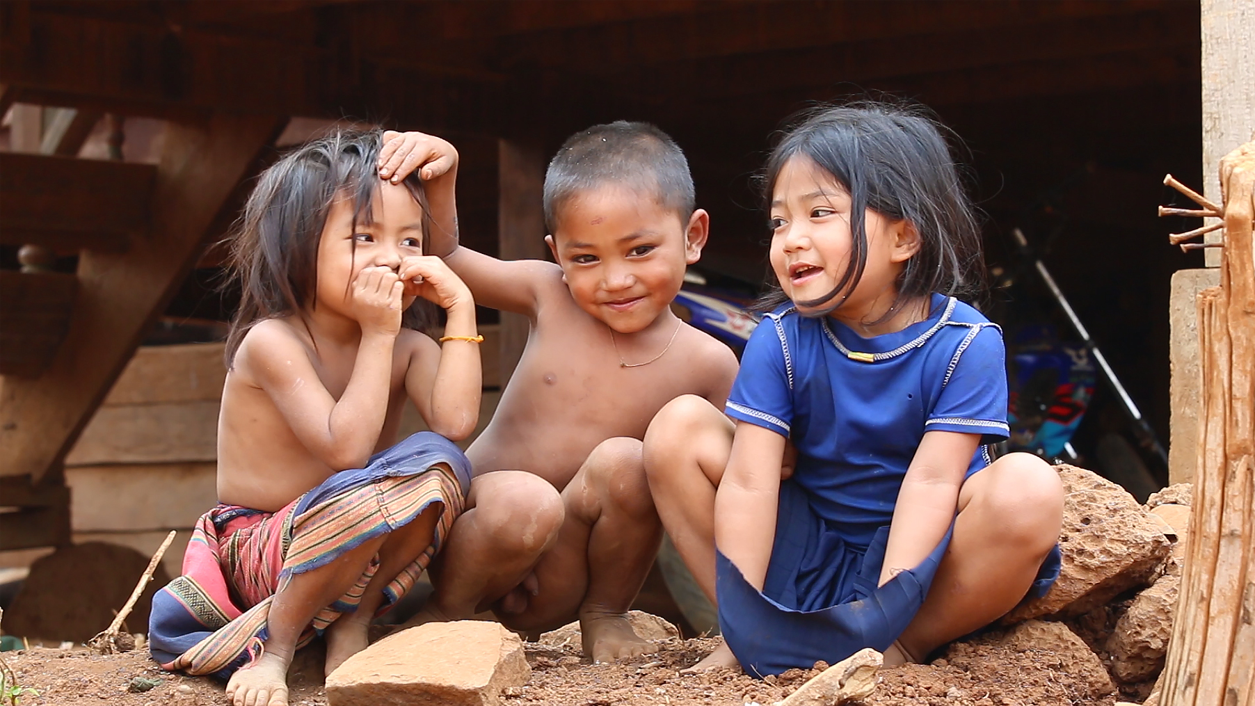 Bolovens, Laos, enfants, laotiens, village
